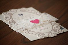 Suite-Hearts Design -- Wedding invitation suite for Katrina and Hutch -- 220# crane lettra with three-color letterpress // If pinning, please credit © the-summerhouse.com
