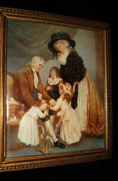 French Miniature Rare Painting Of Marie Antoinette and Family  c.19th Century