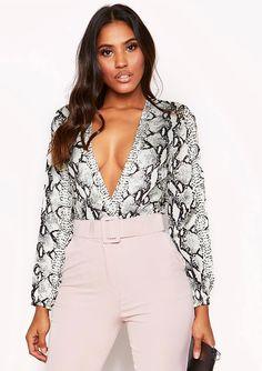 7555db8de3 Missyempire - Snake Print Plunge Bodysuit Plunge Bodysuit