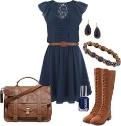"""""""Navy dress & boots"""" by elizabethdawes ❤ liked on Polyvore"""