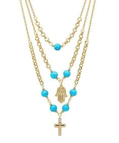 This Gold & Simulated Turquoise Layered Hamsa & Cross Necklace is perfect! #zulilyfinds
