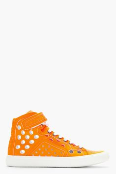 PIERRE HARDY Neon Orange Perforated Leather DX01 Sneakers