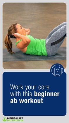 Gym Workout For Beginners, Gym Workout Tips, Fitness Workout For Women, At Home Workout Plan, Workout Videos, Core Exercises For Beginners, Pilates Workout, Herbalife Nutrition, Abdominal Exercises