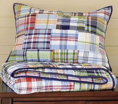 Pottery Barn Kids Madras quilted bedding.  $99 special for twin 19 for shams
