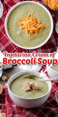 Vegetarian Cream of Broccoli Soup is an easy to make healthy soup perfect for any night of the week!