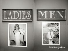 Cute signs of the bride and groom to hang on the bathroom doors to make the guests laugh :)