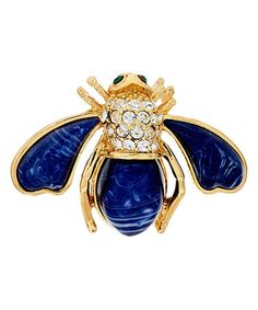 Loving this Simulated Lapis & Crystal Bee Pin on #zulily! #zulilyfinds