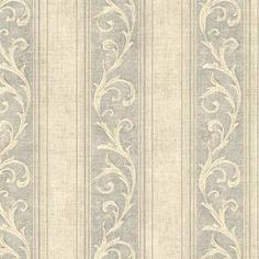 Sage Farnworth Scroll Stripe  Wallpaper