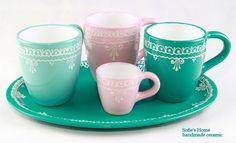 Gläser & Becher - Keramik handgemachte Türkis Becher Tasse 0,28 L - ein Designerstück von SofiesHome bei DaWanda