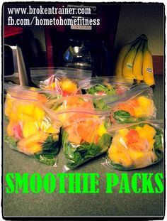 Freezer Smoothie Packs, add frozen cubes of yogurt (instead of ice) and fresh juice