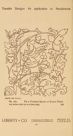 Designs for needlework Jacobean Embroidery, Tambour Embroidery, Embroidery Motifs, Embroidery Fashion, Vintage Embroidery, Fabric London, Embroidery Designs, Art Nouveau Illustration, Hand Applique