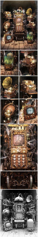 ShokeR by Aleksandr Kuskov, via Behance steampunk stuff Chat Steampunk, Style Steampunk, Steampunk Gadgets, Steampunk House, Steampunk Cosplay, Steampunk Design, Steampunk Fashion, Hp Lovecraft, Cyberpunk