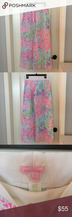 Lilly Pulitzer Coral Printed Linen Pants Lilly Pulitzer Coral Printed Linen Pants. Gently worn, pants are cozy and very cute! Width of top cotton band is approx 14.5 inches and the length is approx 40 inches. In-seam approx 33 inches. Pants do stretch out and get longer/looser with wear. Lilly Pulitzer Pants