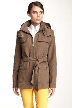 Stand-Up Neck Long Sleeve Belted Jacket. Totally cute!