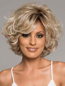 Light Gold Curly Women's Short Wig