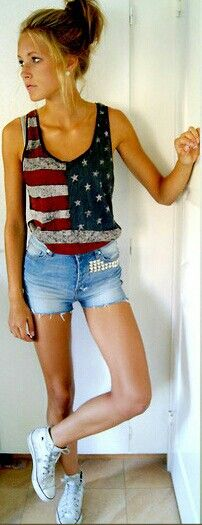 American flag top, cut downs and old converse!