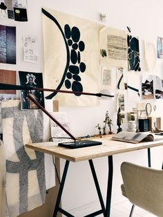Creative home office with graphic art