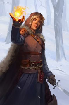m Wizard Rogue Thief multi-class Leather Armor Cloak Longsword Magic Book casting male Winter snow by Leanna Crossan ReasonableFantasy lg Fantasy Male, High Fantasy, Fantasy Warrior, Fantasy Rpg, Medieval Fantasy, Fantasy Character Design, Character Concept, Character Art, Concept Art