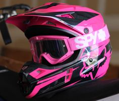 I love my dirt bike gear! My Helmet- By Fox Racing & Goggles -By Spy Optics Danielle Oxford dirt bike