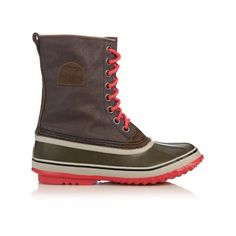 Sorel 1964 Premium canvas and rubber boots ($128) ❤ liked on Polyvore featuring shoes, boots, multi, canvas boots, rubber boots, waterproof military boots, military-style boots and military boots