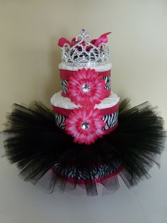 Diaper Cake for little girl baby shower, but the tutu would be cute on the base of a real cake. Description from pinterest.com. I searched for this on bing.com/images