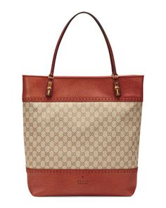 Laid-Back Crafty Original GG Canvas Tote Bag, Orange by Gucci at Neiman Marcus.