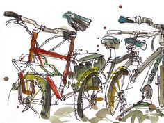 """Bicycle Art Watercolor sketch Fine Art Print """" print from an original watercolor sketch Watercolor Sketch, Watercolor Landscape, Watercolor Paintings, Painting Art, Bicycle Art, Bicycle Design, Bicycle Painting, Flora Und Fauna, Cycling Art"""