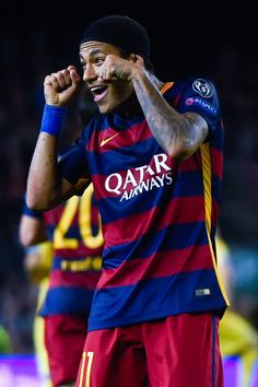 Neymar of FC Barcelona celebrates after scoring his team's third goalduring the UEFA Champions League Group E match between FC Barcelona and FC BATE Borisov at the Camp Nou on November 4, 2015 in Barcelona, Catalonia.