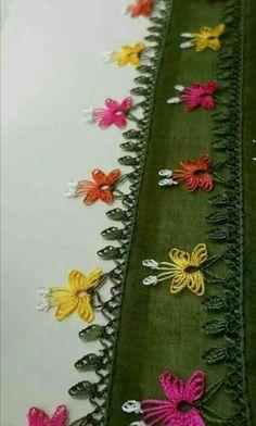 Birbirinden Farklı 35 Yeşil Pembe İğne Oyası Modelleri 35 Green Pink Needle Lace Models Different From Each Other Needle Tatting, Needle Lace, Crochet Unique, Hand Embroidery Dress, Lace Making, Crochet Trim, Baby Knitting Patterns, Beaded Flowers, Needlework