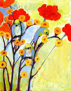 Poppies and Bluebirds