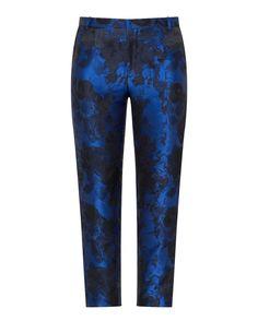 Manon Baptiste Floral print jacquard trousers  in Dark-Blue