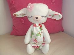 Cute Handmade Baby Lamb with Cath Kidston Rosali fabric dress