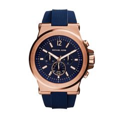 Michael Kors Men's Rise Gold Navy Strap Watch