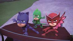 "PJ Masks"" is a superhero-themed show aimed at preschoolers."