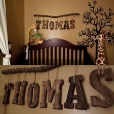 Safari theme Nursery room for our little man. DIY name. - Blakely Baby Name - Ideas of Blakely Baby Name - Safari theme Nursery room for our little man. DIY name. Baby Boy Rooms, Baby Boy Nurseries, Rustic Baby Nurseries, Baby Boy Nursery Themes, Baby Room Decor, Nursery Room, Nursery Ideas, Nursery Name Decor, Bedroom