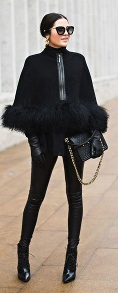 All Black Everything Winter Outfit by Pink Peonies