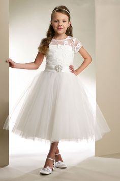 Couture-Designer Girls Dress Style T1861- Short Sleeve Tulle and Lace Dress