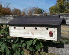 Antiqued Red barn birdhouse, with three house compartments. Made of repurposed wood with cleanout located in the rear of the house. Purple Martin Birdhouse, Exterior Grade Plywood, Purple Martin House, Country Landscaping, Repurposed Wood, Red Barns, Garden Accessories, Bird Houses, Diy Projects
