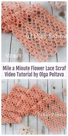 Lace Flower Scarf Free Crochet Pattern Video - DIY Magazine - Crochet Lace Flower Lacy Free Crochet Pattern Video Best Picture For DIY decorating on a budget F - One Skein Crochet, Crochet Lace Scarf, Crochet Motifs, Crochet Stitches Patterns, Crochet Scarves, Knitting Patterns, Crocheted Scarves Free Patterns, Crocheted Blankets, Crochet Summer