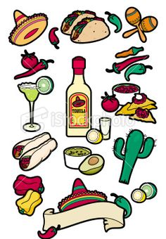 Mexican food icons Royalty Free Stock Vector Art Illustration