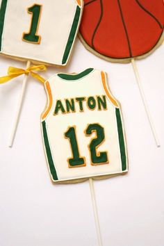 basketball jersey cookie pops