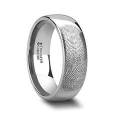 Fingerprint Engraved Domed Tungsten Ring Polished- 4mm - ...