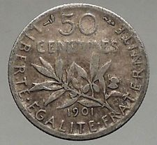 1901 FRANCE - SILVER 50 Centimes - SOWER La Semeuse French Coin Branch i56844
