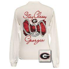 Georgia Bulldogs Preppy Stay Classy Pearls Bow Long Sleeves T Shirt