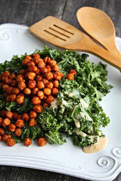Kale Salad with Crispy Chickpeas | Wozz! Kitchen Creations