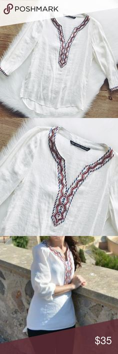 💋SALE💋Zara White Tunic Top Gorgeous white tunic top, excellent condition, washed and hung to dry, 55% viscose, 45% polyester. Made in Turkey, bought it from Spain.           🎄10% off bundle of 2 items or more!🎄                             •NO TRADING                             •reasonable offers                             •smoke free Zara Tops