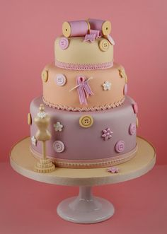 Haute Couture Cakes - sewing-inspired wedding cake