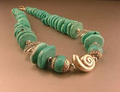 Turquoise Spiny Oyster, Tibetan Turquoise Beads and Thai Sterling Silver Necklace