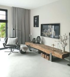 9 super cool tv furniture from railway sleepers 4 « Kitchen Design Living Room Decor Cozy, Home Living Room, Living Room Designs, Home Office Design, Home Interior Design, House Design, Home Decor Furniture, Furniture Design, Asian Bedroom Decor