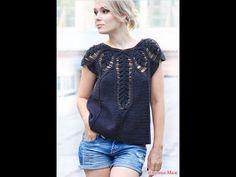 Crochet Woman, Love Crochet, Beautiful Crochet, Knit Crochet, Crochet Top Outfit, Crochet Cardigan, Crochet Clothes, Beautiful Blouses, Crochet Fashion